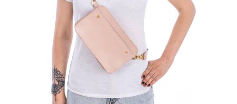 Damska torebka z naturalnej skóry pudrowy róż handmade polska projektantka