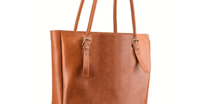 Brązowa torebka skórzana typu shopperka z licowej skóry