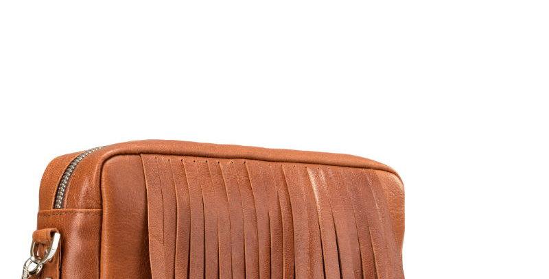 Ręcznie szyta skórzana brązowa damska torebka na ramię - podręczna