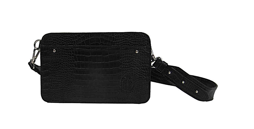 Damska czarna torebka nerka skóra naturalna torebka handmade polska projektantka