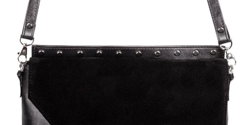 Elegancka czarna torebka szyta ręcznie z naturalnej skóry wykończona ćwiekami