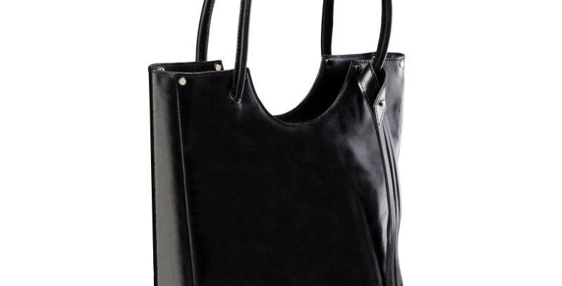 Elegancka, szyta ręcznie, czarna torebka na ramię z naturalnej skóry