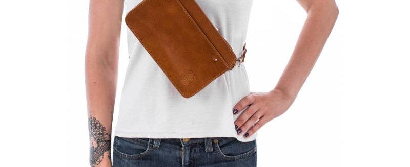 Damska torebka brązowa nerka skóra naturalna handmade polska projektantka