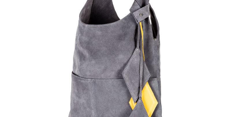 Szaro-żółta zamszowa, ręcznie szyta miękka skórzana torba damska na ramię