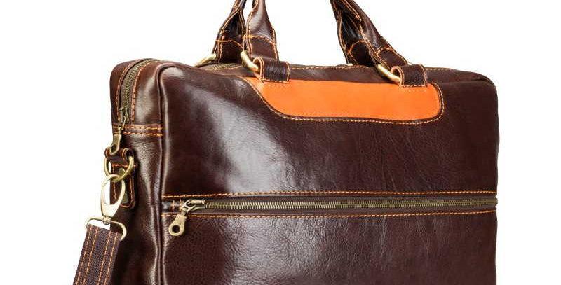 Ręcznie szyta skórzana torba męska na laptopa (np. MacBooka)