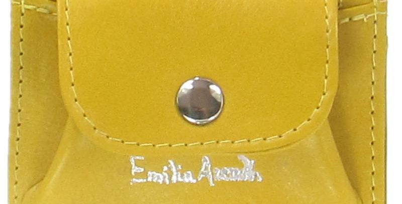 Damski portfel z naturalnej skóry ręcznie szyty polska projektantka żółty