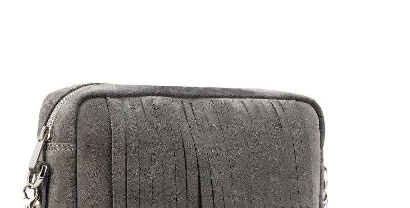 Ręcznie szyta skórzana szara damska torebka na ramię - podręczna