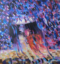 Il pleut - Huile, feuilles d'or et d'arg