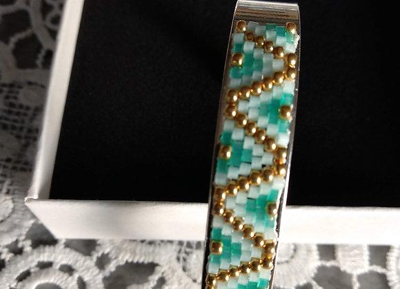 bracelet jonc bleu vert