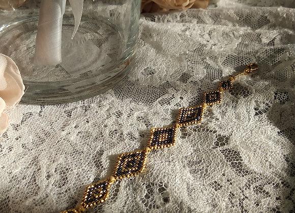 bracelet perles miyuki  or