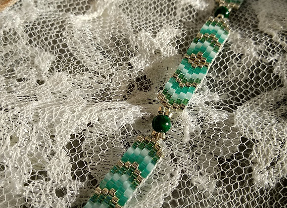 bracelet perles miyuki  dégradé de vert et argent