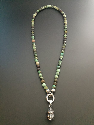 Collier Clip Turquoise africaine & Bouddha