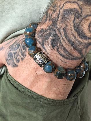 Bracelet 12 en Jaspe Bleu du Nepal & Cylindre