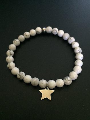 Bracelet Howlite blanche & Etoile