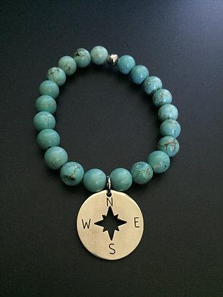 Howlite Turquoise & Compass Rose Bracelet