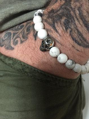 Howlite blanche & Skull étoile