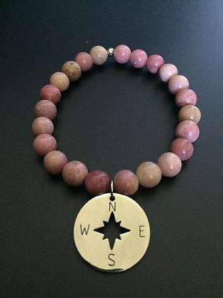 Bracelet Rhodonite & Rose des vents