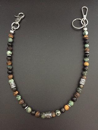 Mixte Oeil de tigre/turquoise Africaine/Obsidienne dorée & Cylindres gravées