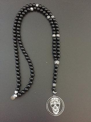 Chapelet 8mm Onyx Brillante & Skull médaille