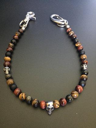 Mixte Onyx mate/Oeil de tigre/ Oeil de taureau/Obsidienne Doree & Skull