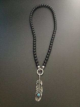 Collier Clip Onyx Noire Brillante & Plume stone
