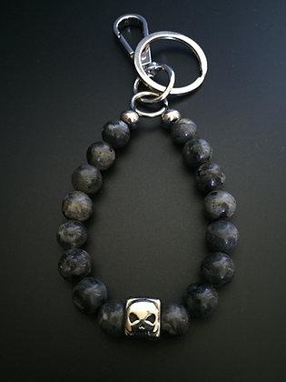 Porte-clés Labradorite & Skull Dé