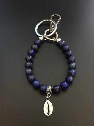 Porte-Clés Lapis Lazuli & Coquillage