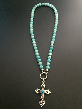 Collier Clip Howlite turquoise & Croix Stone