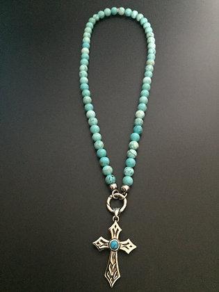 Collier Clip Howlite turquoise & Croix Stone