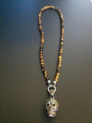 Collier Clip 6MM Oeil de Tigre brillant & Skull Calavera