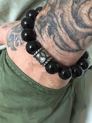 Bracelet 14 en Obsidienne Oeil Celeste & Cylindre celte