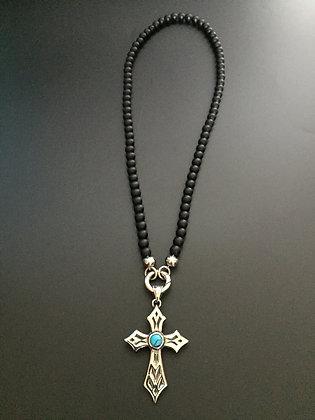 Collier Clip 6MM Onyx mate & Croix stone