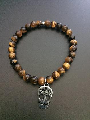 Tiger Eye & Mexican skull Bracelet