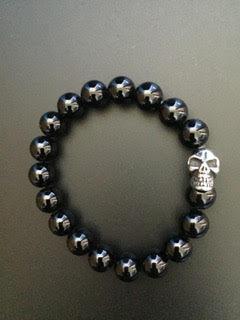 Onyx noire brillant & Skull
