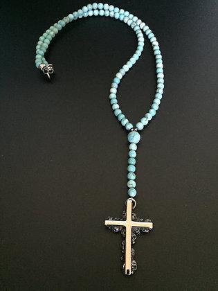 Chapelet Howlite Turquoise & Croix Catacombes