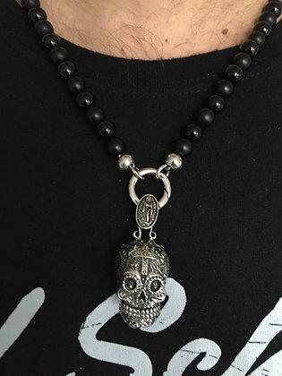 Colliers Clip 8MM Onyx mate et brillante & Skull Mex