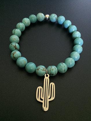 Bracelet Howlite Turquoise & Cactus