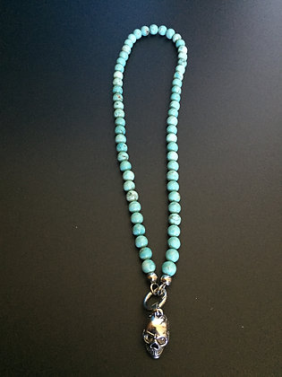 Clip Necklace 8mm Howlite turquoise & Skull