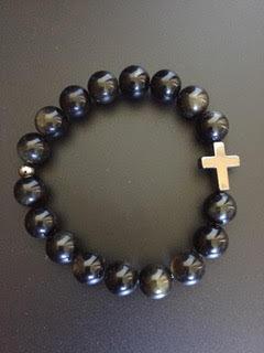 Golden Obsidian & Hematite Cross