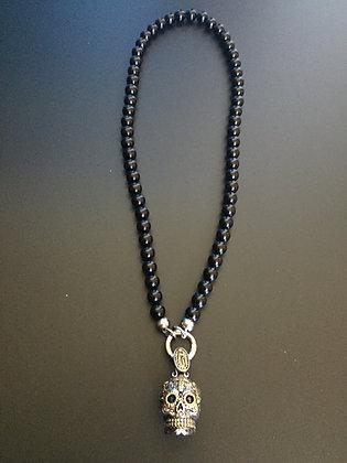 Collier Clip 8MM Onyx brillante & Skull Calavera