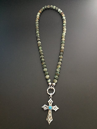 Collier Clip Turquoise africaine & Croix Stone