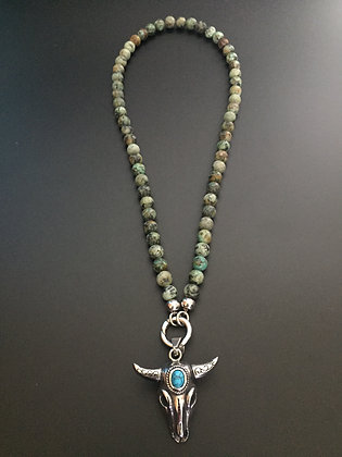 Collier Clip Turquoise africaine & Buffle stone