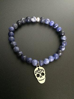 Bracelet Sodalite & Mexican Skull