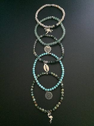 """Serie """"Esprit Lagon"""" 5 bracelets"""