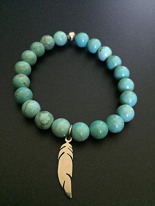 Bracelet Howlite Turquoise & Plume