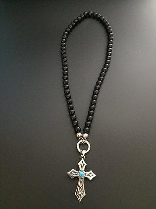 Collier Clip Onyx  Noire Brillante & Croix Stone