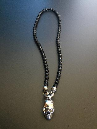 Collier Clip 6MM Onyx Brillante & Skull