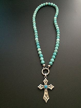 Collier Clip 8mm Howlite turquoise & Croix stone