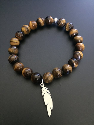 Bracelet Oeil de tigre & Plume