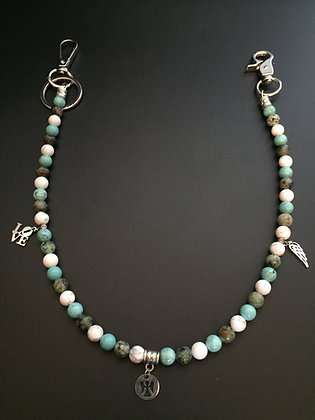 Mixte Howlite Turquoise/Howlite blanche/Turquoise africaine & Charms